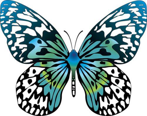 Cartoon Blue Transparent Butterfly Clipart