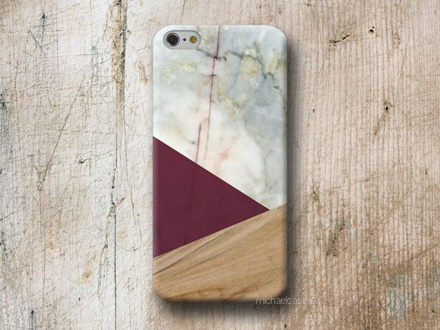 Beautiful geometric case Marble and Wood texture with triangle in burgundy. Phone Case available for iPhone Samsung Galaxy LG Sony HTC Huawei Moto  WOOD and MARBLE cases are made from 100%...