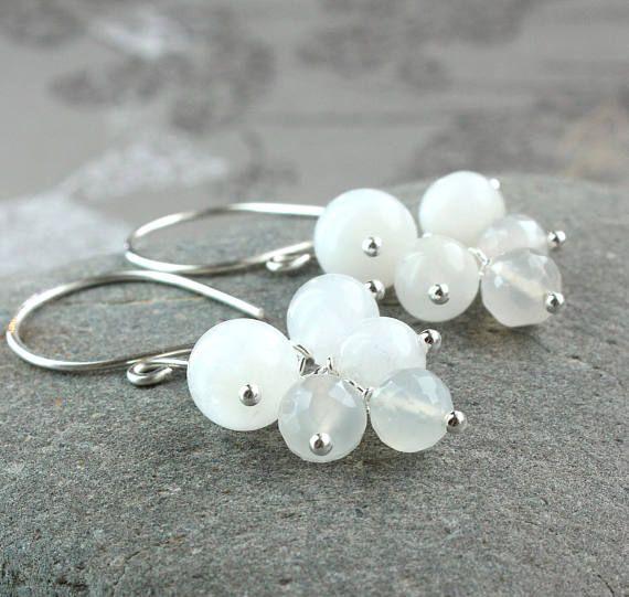 White Moonstone Cluster Earrings Sterling  Silver  June