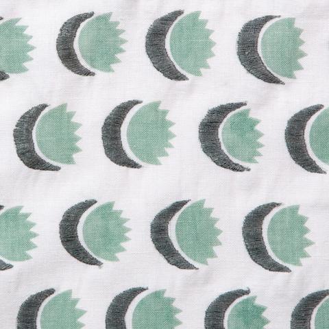 Sun and Moon Fabric in Dennis Green from Rebecca Atwood #green #sun #moon #cotton #textiles #fabric #interiordesign #designinspiration #thetextilefiles #clothandkindinteriordesign #rebeccaatwood