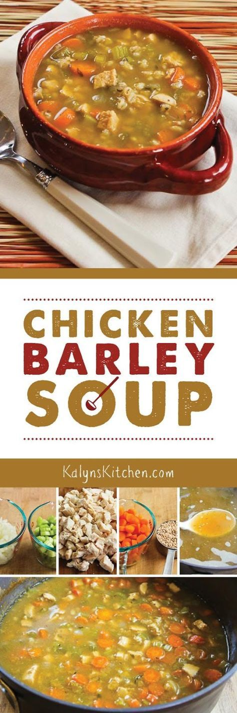 Chicken Barley Soup is perfect when you need some cold weather comfort food, and this is super easy to make.  found on KalynsKitchen.com