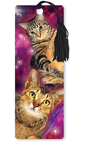 omg!!! cats in space!amazonsmile book mark $12 top one looks like Dr. Watson, except black dot on nose