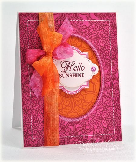 card designed by Debbie Olson using Lace Oval Background Cling Stamp and Lace Vintage Labels Three Clear Stamps