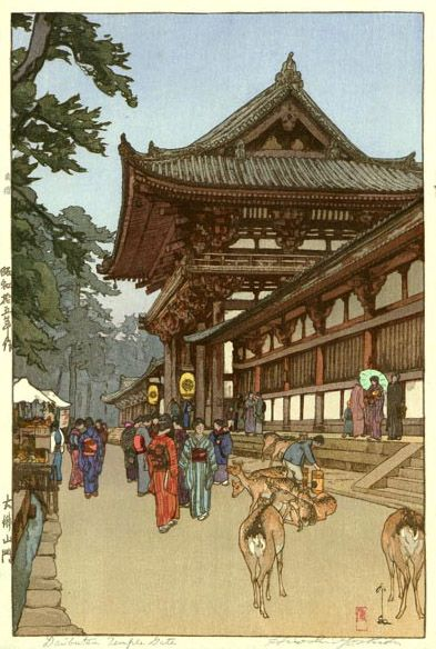 hanga gallery . . . torii gallery: Daibutsu Temple Gate by Hiroshi Yoshida