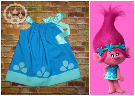 Perfect dress for the Trolls themed parties. Dress comes with matching shoulder ribbon and features handmade Poppy Troll designs! PLEASE READ: If you need the dress in a hurry PLEASE inbox us BEFORE you purchase. We are on 2 weeks processing with this dress and the ONLY way we can guarantee shipment before the 2 week mark is if you purchase one of the rush processing options or if we say we can have it done! Please leave a note when ordering letting me know what size you want.  This listing…