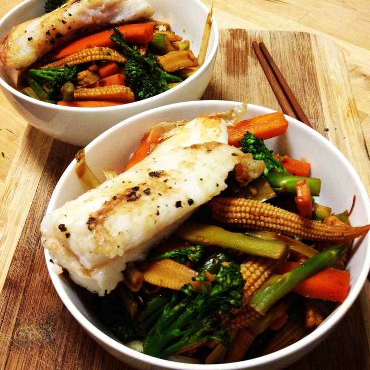 Oh yum! @Michelle Bridges Fish (grilled in this case - not steamed!) with Asian Veggies - so so good!