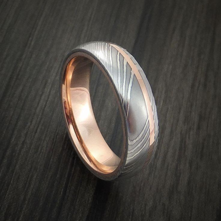 damascus steel 14k rose gold ring wedding band custom made