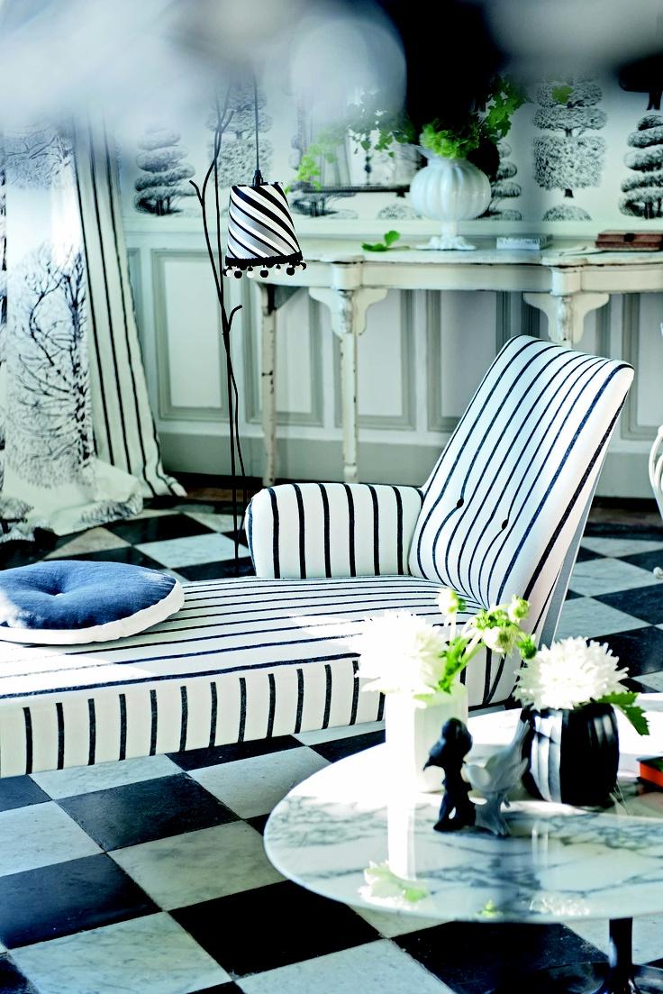Monochrome pinstripes making super smart DG upholstery