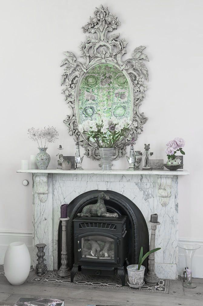 Dove gray home decor fireplace and ornate mirror dove gray home decor pinterest Grey home decor pinterest