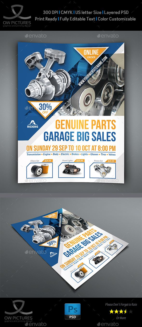 Auto Parts Flyer Template PSD. Download here: http://graphicriver.net/item/auto-parts-flyer-template/16396574?ref=ksioks