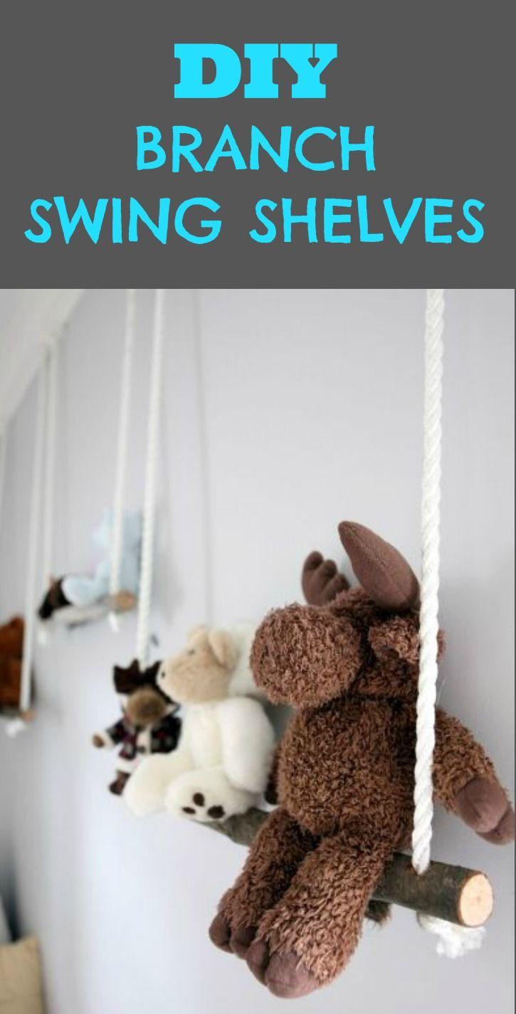 DIY Branch Swing Shelves