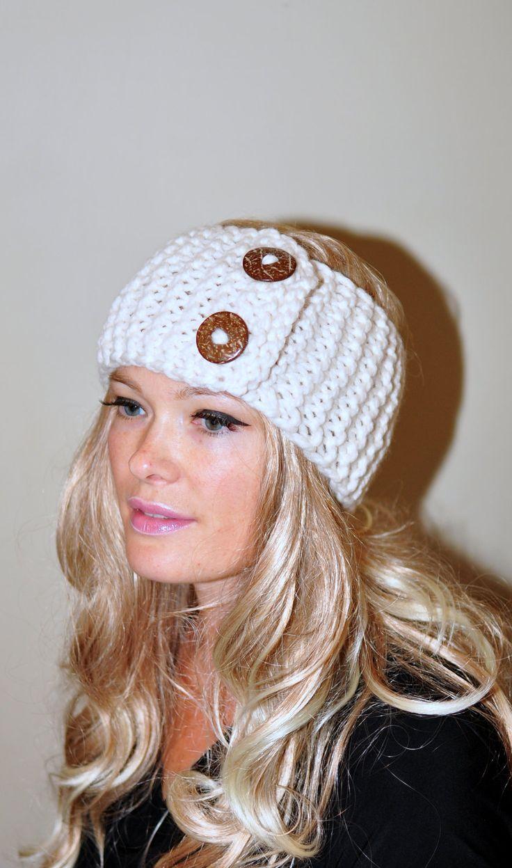 Earwarmer Buttons Winter WOOL Crochet Headband Chunky Ear warmer