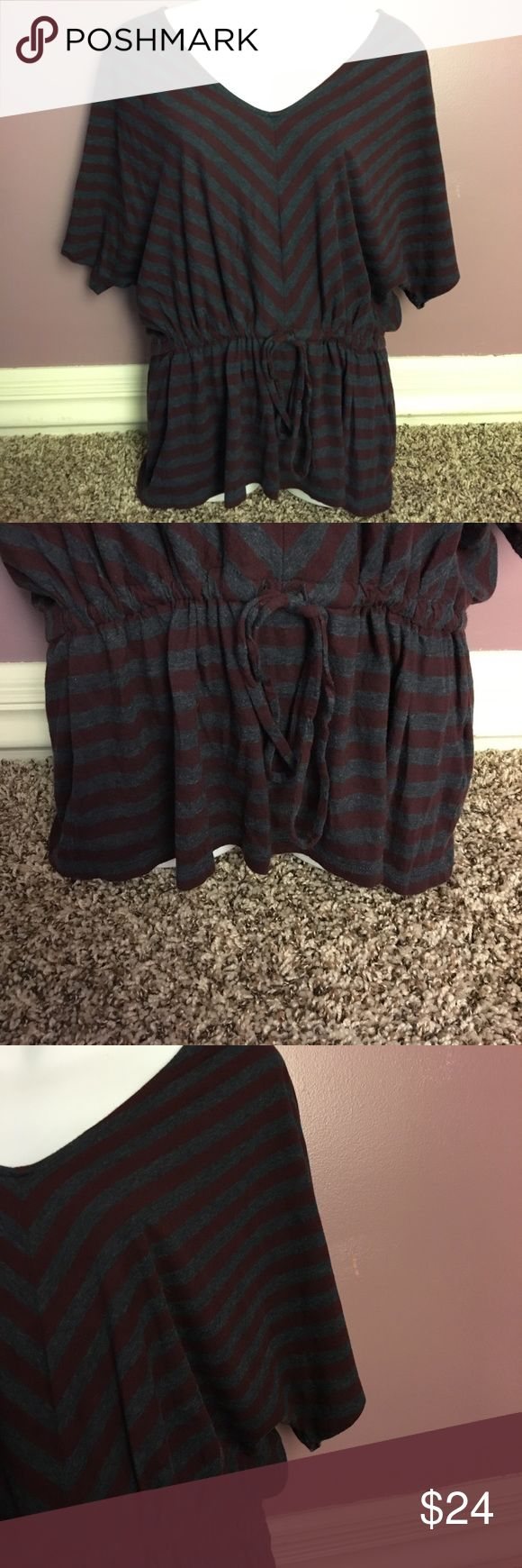 Banana Republic Maroon and Grey Stripped Blouse Batwing Blouse that ties at the waist. Very sliming. Size medium. From Banana Republic. In good condition. Banana Republic Tops Blouses