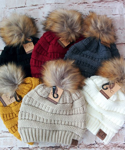 Fur Pom Pom Beanie Hats - 6 colors available at RoseGoldVintage.com