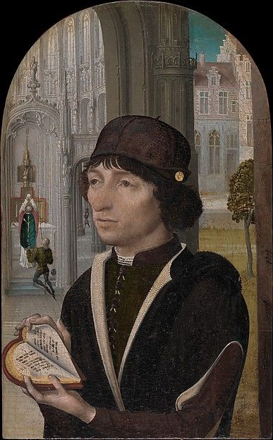 Young Man Holding a Book Artist: Master of the View of Sainte Gudule (Netherlandish, active ca. 1485) Date: ca. 1480 Medium: Oil on wood Dimensions: Overall, with arched top, 8 1/4 x 5 1/8 in. (21 x 13 cm); painted surface 8 1/8 x 5 in. (20.6 x 12.6 cm) Classification: Paintings Credit Line: Bequest of Mary Stillman Harkness, 1950 Accession Number: 50.145.27