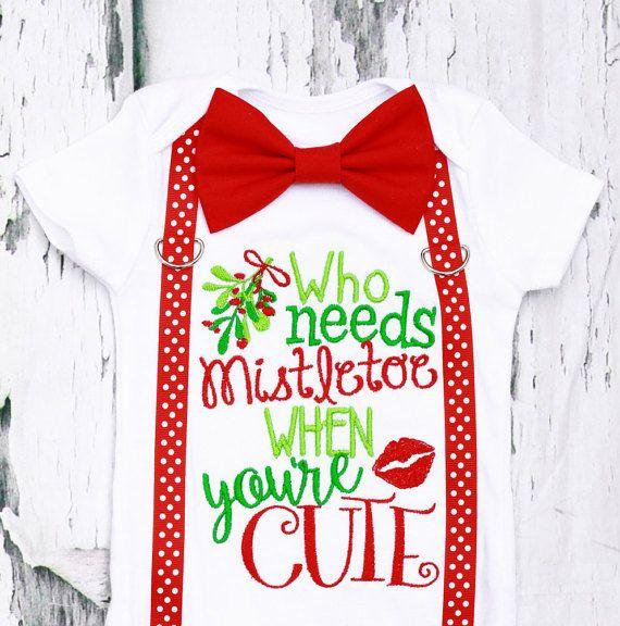 Who needs mistletoe baby boy onesie Baby by LoveAndLollipopsBaby