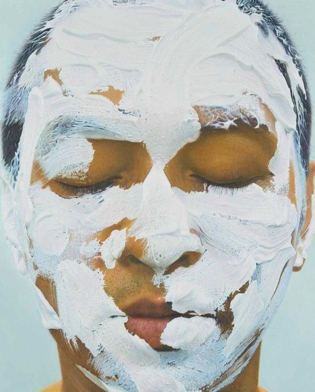 White Acrylic Paint on Face 1. 2009. 150x120 cm. Oil on canvas.