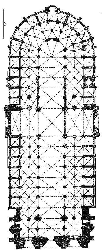 Paryż gotycka katedra Notre-Dame plan. sklepienie 6-dzielne. wczesny gotyk