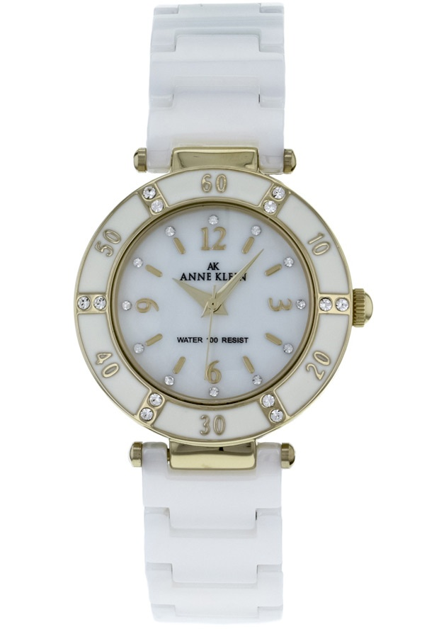 Price:$65.50 #watches Anne Klein 10-9416WTWT, Stainless Steel case, Ceramic bracelet, Mother of pearl dial, Quartz movement, Scratch-resistant mineral, Water resistant up to 3 ATM-30 Meters-99 feet.