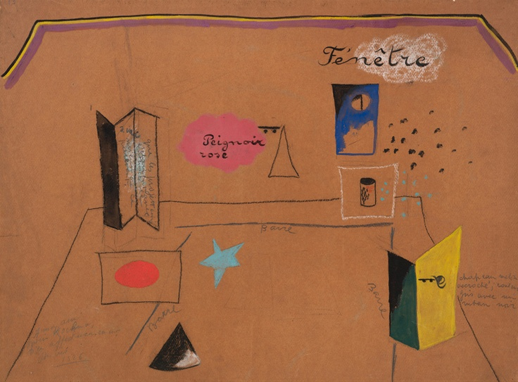 Joan Miró (1893-1983). Roméo et Juliette, Scene design, 1926. Charcoal crayon, pencil and tempera. Howard D. Rothchild Collection.: Fashionable, Russe 1909 1929, Joan Miró, 414 4 107, Miró 1893 1983, Class Fashion, Ballet Russe, Charcoal Crayons, Art Toujours