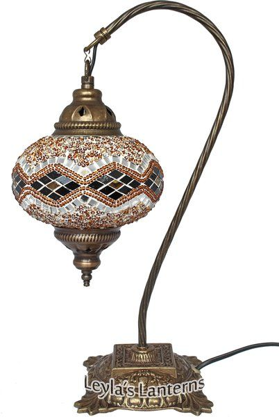 17 CM ORANGE WAVE MOSAIC TURKISH SWAN NECK TABLE TOP LAMP $80 + SHIPPING WWW.LEYLASLANTERNS.COM