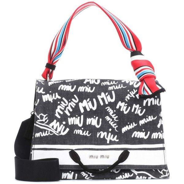 Miu Miu Printed Canvas Shoulder Bag (11.800 NOK) ❤ liked on Polyvore featuring bags, handbags, shoulder bags, black, miu miu purse, shoulder bag purse, canvas handbags, shoulder hand bags and shoulder handbags