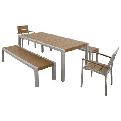 Surf City 5 Piece Bench Dining Set Color: Textured Silver / Tree House - http://diningsetspot.com/surf-city-5-piece-bench-dining-set-color-textured-silver-tree-house-640847012/