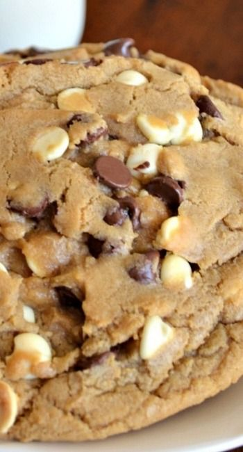 """""""Home Run"""" Double Chocolate Chip Cookies Recipe ~ they are filled with a combination of creamy milk chocolate and white chocolate.  They are soft on the inside."""