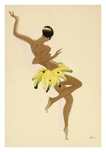 Josephine Baker Banana Skirt  - Vintage Entertainment  Poster - Poster Paper, Sticker or Canvas Print