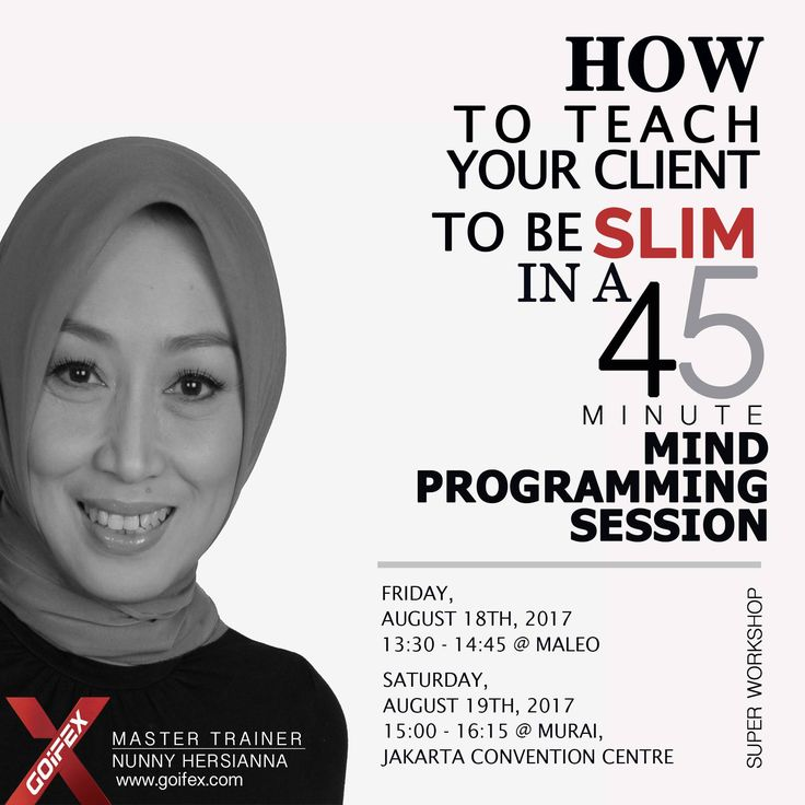 GOIFEX -International sports, fitness & health Expo  NUNNY HERSIANNA @ SUPERWORKSHOPS www.goifex.com  Hari Waktu Tema Detail Materi Kelas Lain  Jum'at, 18 Ags 17    10:15 – 11:30 Room : Kenari       Mind Coaching for Sport & Fitness; How to Motivate Without Feeling Deprived  Your …