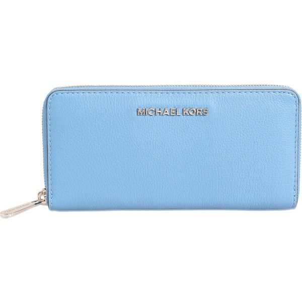Michael Kors Beford ZA Continental wallet ($170) ❤ liked on Polyvore featuring bags, wallets, blue, zip bags, michael kors, zipper wallet, zip wallet and michael kors bags