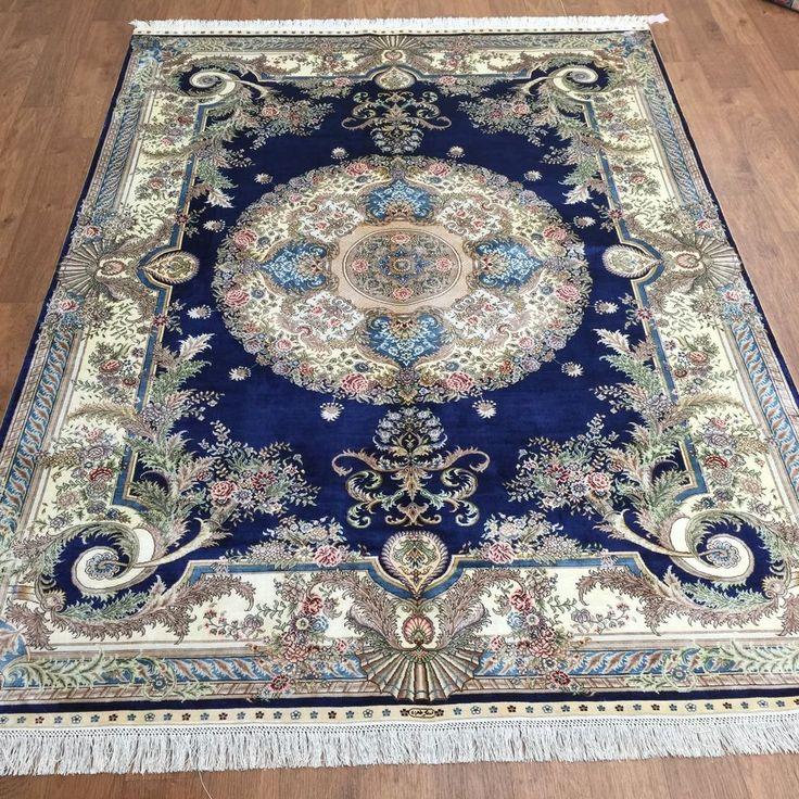 5×7 Traditional Persian French Style Handmade Silk Carpet Oriental Blue Area Rug