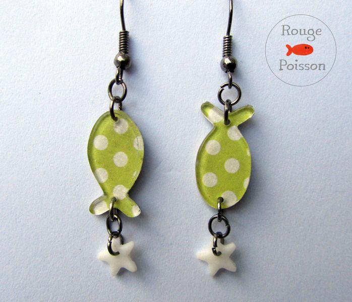 Boucles d'oreilles Poisson étoile Rouge poisson de Rouge Poisson sur DaWanda.com
