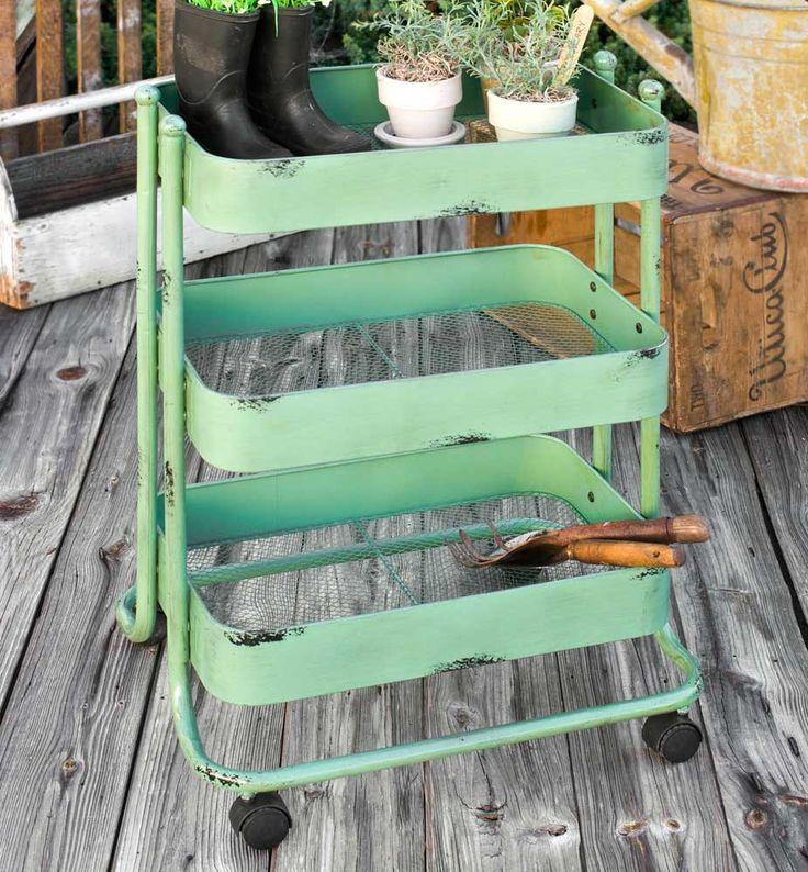 Vintage Inspired Green 3-Tier Gardener's Cart, Bar or Storage Cart