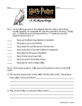 This is a final assessment (test) for the novel Harry Potter and the Philosopher's Stone (or Sorcerer's Stone if you are a US resident)by J. K. Rowling.  It includes a four page test, along with a four page descriptive answer key.  The test involves putting events into chronological order, answering basic comprehension questions, and even requires students to use inference and draw conclusions.