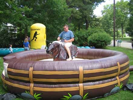 Rent a Mechanical Bull for your next event!. See how long you can hang on. Have your guests try it just for fun or hold a competition to see who can hang on the longest. The Mechanical Bull is great for a western party, Extreme Game competition, sports or rodeo themed events and parties. The Mechanical Bull always comes delivered and set up by a Bull attendant. The Mechanical Bull is sure to be a hit at your next party or event!