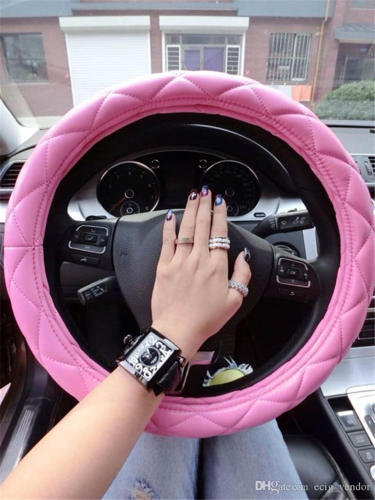 Car Steering Wheel Cover Geniune Leather For Cars Universal Anti Slip Pink Plaid Patchwork