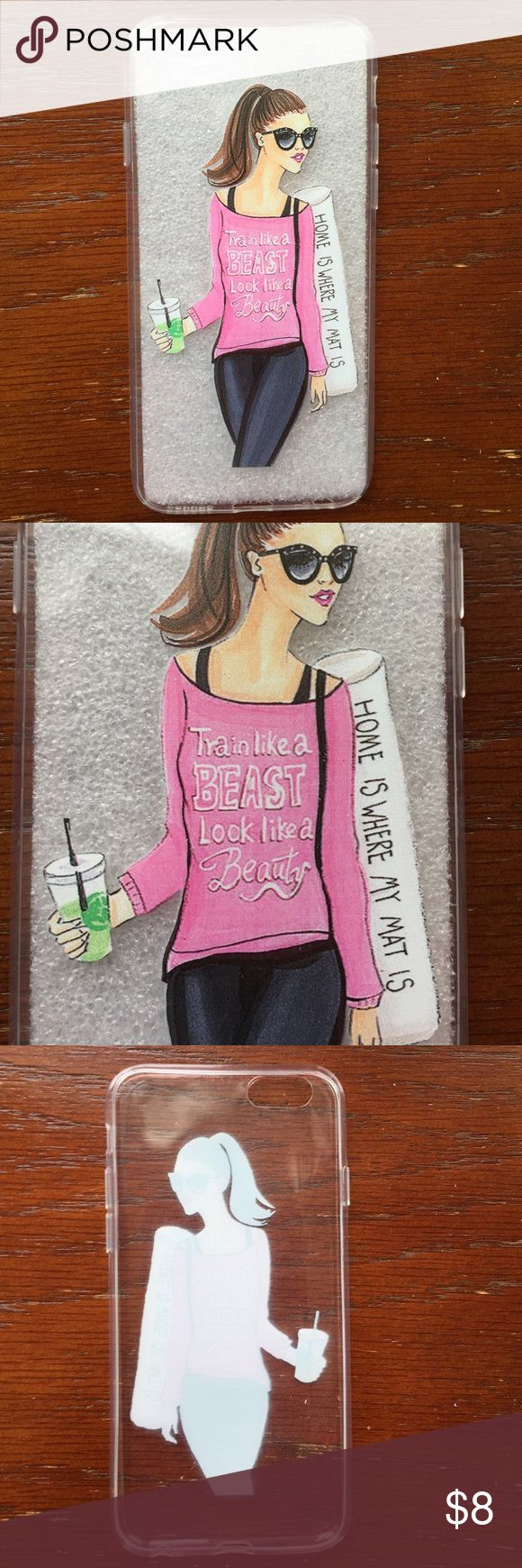 """Gym girl"" phone case Clear and flexible iPhone6 4.7"" case.  Case is glossy with image printed on the outside.  Features girl with graphic top, gym mat and green smoothie. Price firm.  Bundle with others marked the same for 2 for$14 deal.  New in packaging. Accessories Phone Cases"