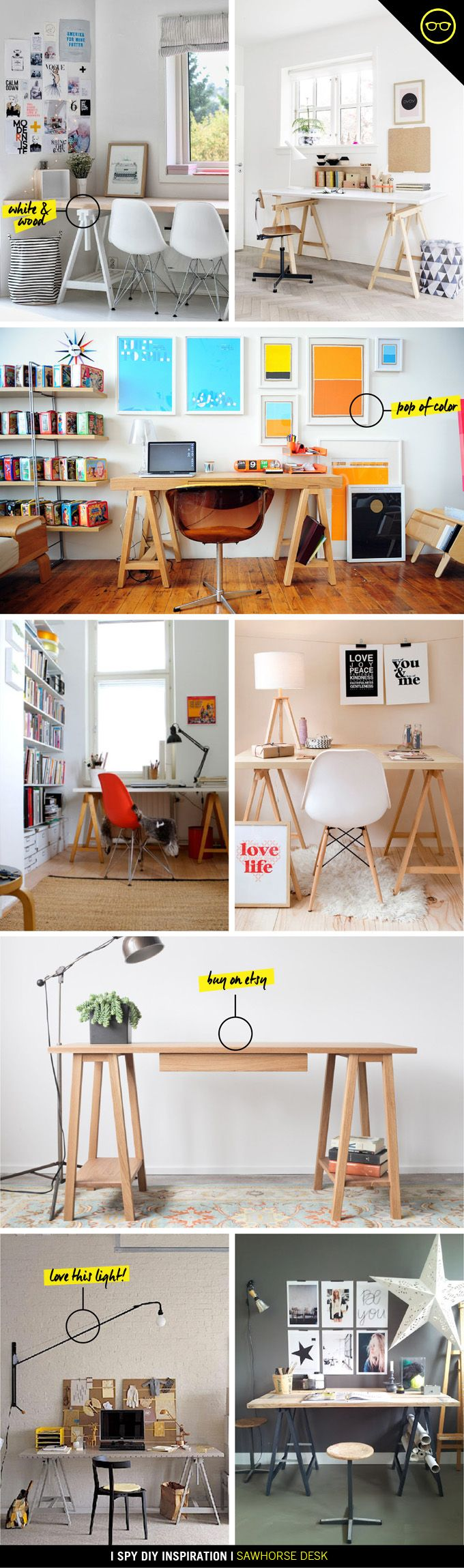 DIY INSPIRATION   Sawhorse Desk....must build our own desk for the study or craft room! It's just too easy not too
