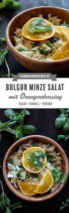 Ein schneller veganer Bulgur Minze Salat mit fruchtigem Orangendressing ist perfekt für stressige Tage! Einfach, wenige Zutaten und gesund! #Salat #vegan #Bulgur #Bulgurminze #schnelleküche