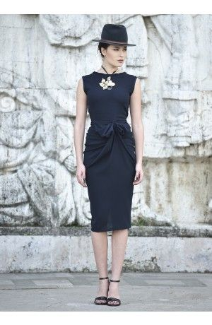 BOW DRAPED CREPE DRESS - Rhea Costa-Shop