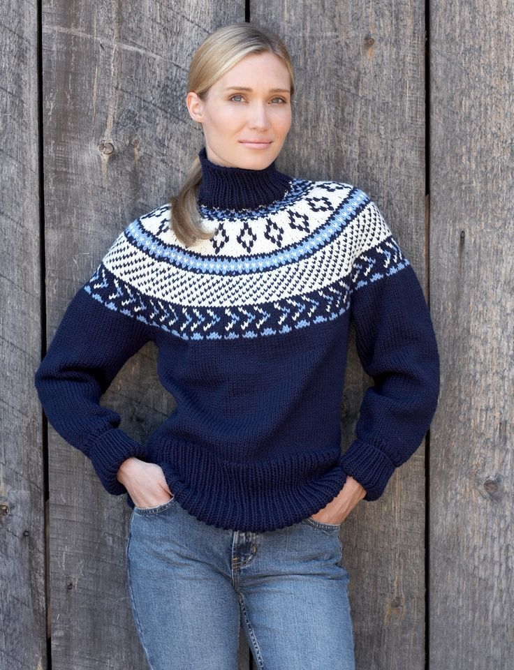 Yarnspirations.com - Bernat Fair Isle Yoke Pullover | Yarnspirations. I'd love to do something like this.