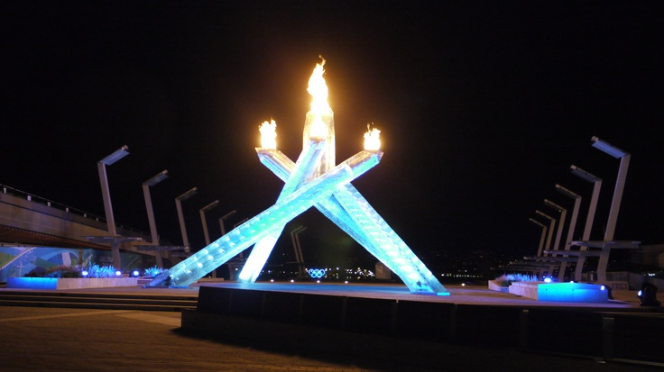 Olympic Flame burning in downtown Vancouver, winter Olympics, February 2010