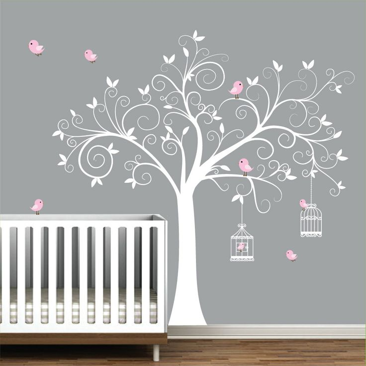 Wall decal tree with birdcages birds baby wall decal for Baby mural stickers