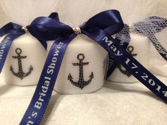 Nautical Baby Shower, Bridal Shower Favors,Nautical Themed Party favors, Anchor Votive  Candle, With Personalized Ribbon on Etsy, $1.25