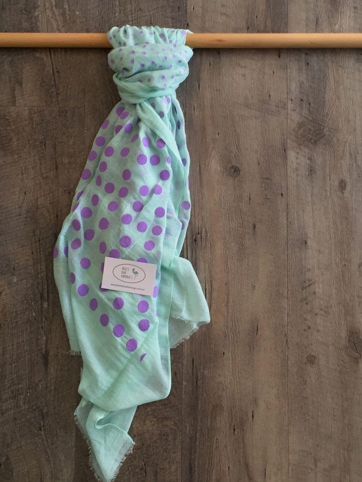 Scarf - mint with purple polka dots