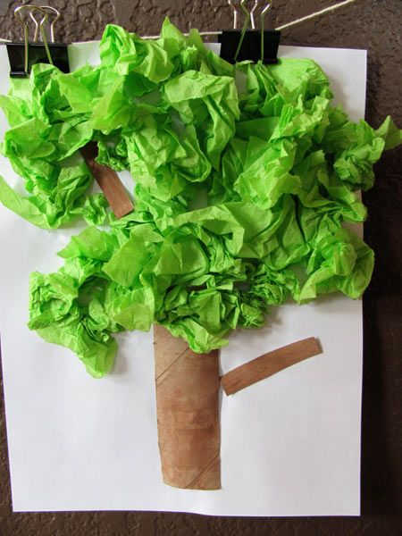 Preschool Crafts for Kids*: Earth Day Tissue Paper Tree Craft