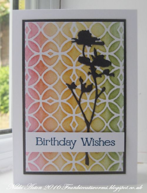 Addicted to Art - Tim Holtz Wildflower and Layering Stencil. Use sponge daubers to ink through a stencil onto white card.