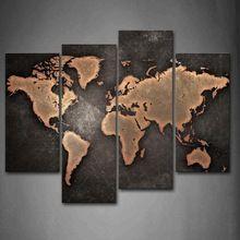 Algemene Wereldkaart Zwarte Achtergrond Muur Schilderkunst Pictures Canvas Kunst De Foto Voor Home Moderne Decoratie(China (Mainland))