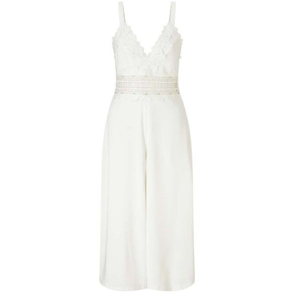 Miss Selfridge PREMIUM White Lace Culottes Jumpsuit ($61) ❤ liked on Polyvore featuring jumpsuits, white, miss selfridge, white jumpsuit, jump suit, lace jumpsuits and miss selfridge jumpsuit